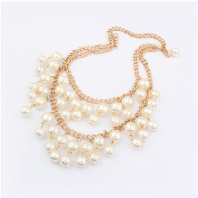 Factory Outlet temperamental stars double layer Pearl beaded Necklace fashion gold chain necklaces