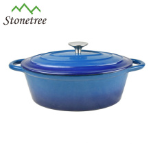 Cazuela térmica de hierro fundido esmaltada azul / utensilios de cocina / utensilios de cocina