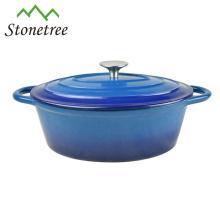 Marmite thermique en cocotte en fonte émaillée bleue / ustensiles de cuisine / batterie de cuisine