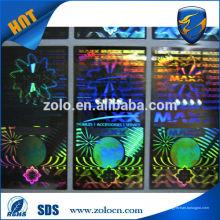 Protection de la marque Rainbow hologramme coloré sans étiquettes de sécurité des résidus