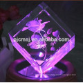Customized Crystal Cube With 3D Laser Engraved Rose For Table Decorations
