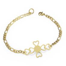 Brazalete personalizado de la pulsera del oro del corazón del diseñador de la muchacha modificada para requisitos particulares personalizada