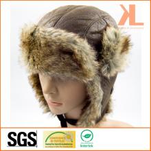 100% Polyester Artificial Fur Ushanka Chapeau d'hiver avec oreillettes