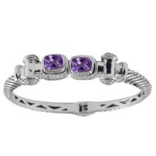Красивый Фиолетовый Аметист Драгоценный Камень & 925 Серебряный Античный Стиль Круглый Браслет