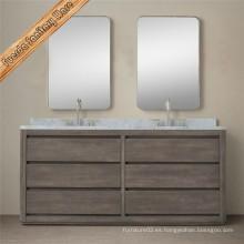 Gabinete clásico de tocador de baño de madera sólida