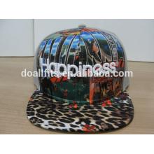 Hochwertige kundenspezifische Leopard flache Hüte mit 3D Stickerei