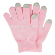Baratos guantes de invierno cálido, llano guantes de punto para la pantalla táctil, personalizadas Magic Touch Screen Gloves