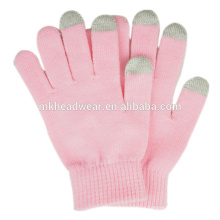 Cheap Winter Warm Gloves, Plain Knitted Gloves for Touch Screen, Customized Magic Touch Screen Gloves