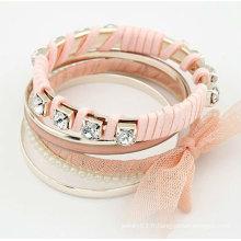 Bracelets les plus chauds avec des bracelets à papillons à cristaux liquides brillants Multilayers