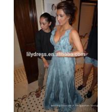 Deep V Neck Light Blue Pavimento Comprimento Custom Made Red Carpet Comemoração Vestidos KD026 Prom Dress kim kardashian