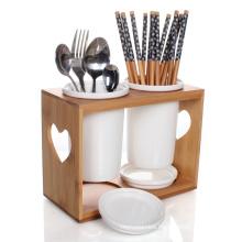 Bamboo Kitchen Utensil Holder Fork Knife Chopstick Holder Spoon Holder