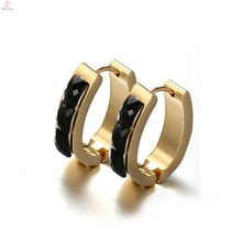 Runde schwarze Ohrstecker für Frauen, Gold-Kreis-Diamant-Ohrringe