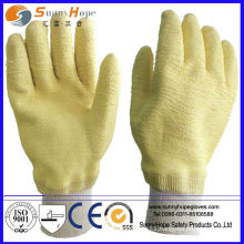 Crinkle finish latex coated with knit wrist latex glove
