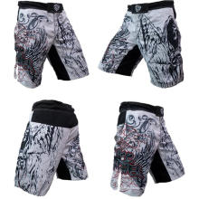 Pantalones cortos de MMA personalizados Sublimated Print 4 Way Stretch Crossfit Shorts Wholesale
