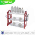 22 Inch 3-Tiers Wooden Dish Rack with Mug Stand