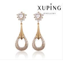 91388 moda elegante CZ diamante redondo 18k pendiente de imitación de joyería dorado