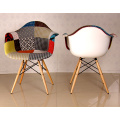 Eames Half Fabric Covered Armchair with Wood Leg