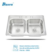 Melhor Qualidade Lavar a Mão Tigela Dupla RV Portátil Undermount Bacia Da Pia De Cozinha De Aço Inoxidável