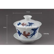 "Gobelets de thé en céramique de Gaiwan ""Mandarin Duck"""