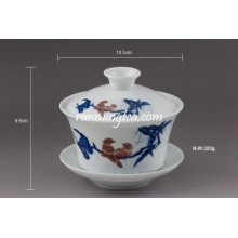 """Mandarin Duck"" Fine Ceramic Gaiwan Tea Cups"
