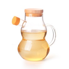 High Borosilicate Glass Olive Oil Vinegar Bottle with Cork Stopper for Kitchen