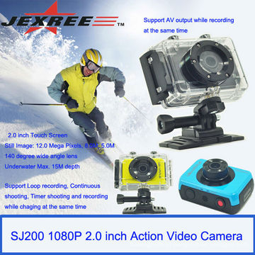 JEXREE FULL HD 30meters impermeável nova câmera de ação de câmera de esporte 1080p 2.0 polegadas de toque LCD de ação de vídeo