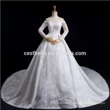 роскошные плюс Размер с длинным рукавом с плеча кружева свадебное платье