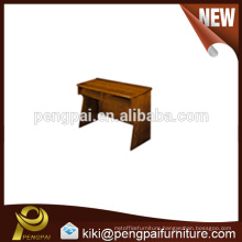 Reddish brown wooden panel table design for school use