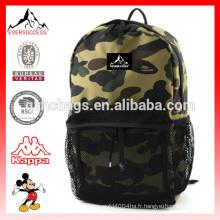 Sac à dos militaire motif camouflage imprimé avec poche zippée en maille