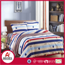 white red and blue stripe with apple shape ,75gsm 100% polyester king size bedsheet set,4 pcs high quality bedsheet set