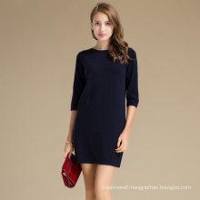 2017 Girls Knitting Machine Sweater Half Sleeve 30%Cashmere70%Merino Wool Sweater