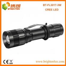 Fábrica de venda 3.7V multifuncional tático de alta potência de alumínio XPE 3W Cree levou lanterna recarregável com função de zoom