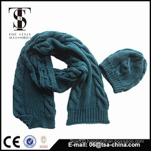 100% acrylic fashion new design knitted scarf hat set