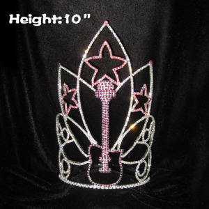Coronas al por mayor del desfile del diamante artificial de la guitarra de la música de la altura 10in