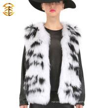 New Fashion White And Black Shape Handmake Mulher Revestimento de cinza de pele de guaxinim