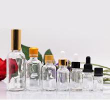 Produtos / Fornecedores de Garrafas da China. Frasco de vidro branco claro alto com conta-gotas (NBG02)