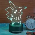 Pokemon Pikachu 3D LED Nachtlicht, 3D optische Täuschung visuelle Lampe 7 Farben Touch Tisch Schreibtischlampe