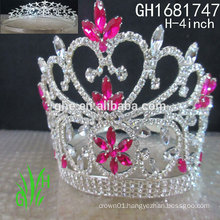 New designs rhinestone royal accessories Jewelry tall pageant crown tiara