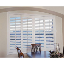 factory 89mm louver double glazed wood plantation window shutters from china