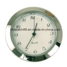 Quartz Movement Insert Round Silver Tone Mini Clock with Numbers