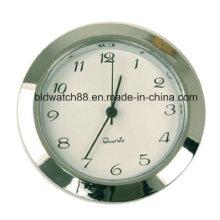 Movimiento de cuarzo de inserción redondo tono de plata mini reloj con números