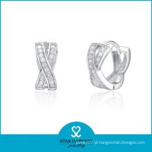 Brincos de design de moda de prata esterlina
