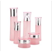 Розовая талия стеклянная косметическая банка и бутылка