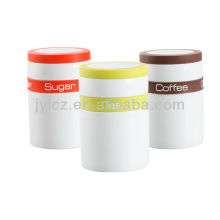 colorfull silicone band and silicone rim on the lid ceramic canister
