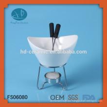 Calentador de fondue de porcelana especial con soporte, fondue de proveedor con soporte de metal