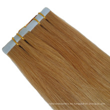 Extensión de cabello rubio con cinta adhesiva