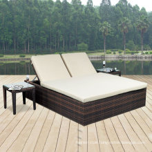 Brown Rattan Double Bed Seat Rattan Beach Outdoor Lounge