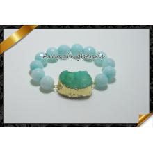 Bracelets Geode Druzy, Bracelets Encres Argentés Macrame (CB027)