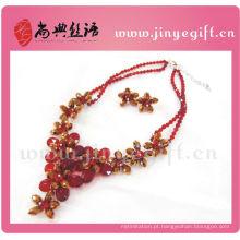 Moda jóias de cristal zircão flor luxo rubi colar define indiano