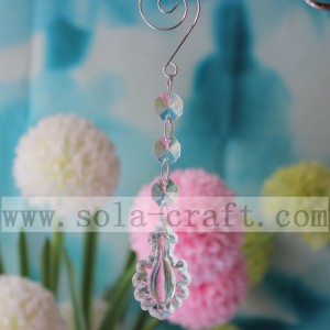 Acrylic Colored Pendalogue Flower Chandelier Prism Parts 16CM